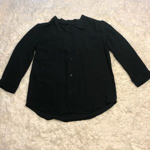 LOFT Black Tie Front Semi Sheer Blouse